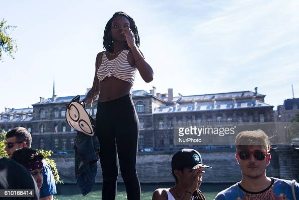 A girl at the Parisian Techno Parade in Paris France on September 24 2016 It all started as massive party on the Seine opposite the Louvre around...
