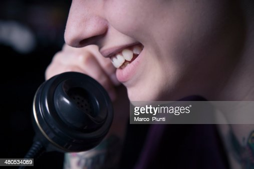 Girl at the phone : Stock Photo