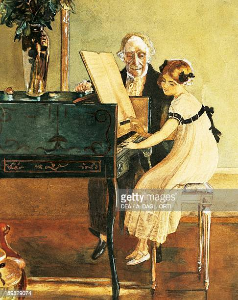 Girl at the piano watercolour Austria19th century Vienna Gesellschaft Der Musikfreunde