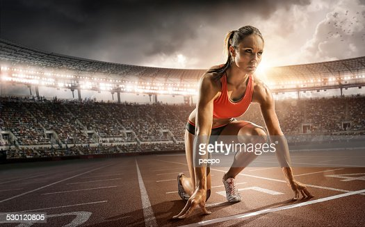 Girl Athlete Getting Ready to Run