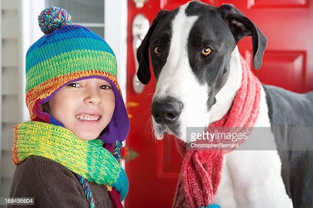 ガール秋のポートレート、彼女の犬