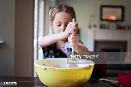 Girl Baking and Mixing