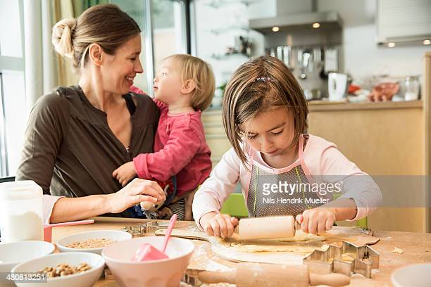 Girl baking in kitchen