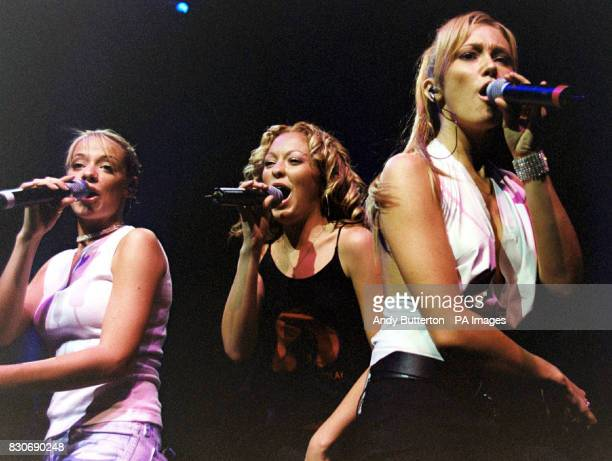 Girl band Atomic Kitten on stage during their concert at the Shepards Bush Empire in London Liz McClarnon Natasha Hamilton and Jenny Frost * 15/9/01...