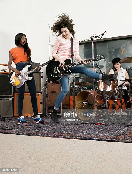 Girl band performing at rehearsal room