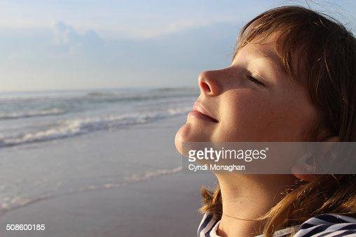 Girl Basking in Sun : Stock Photo