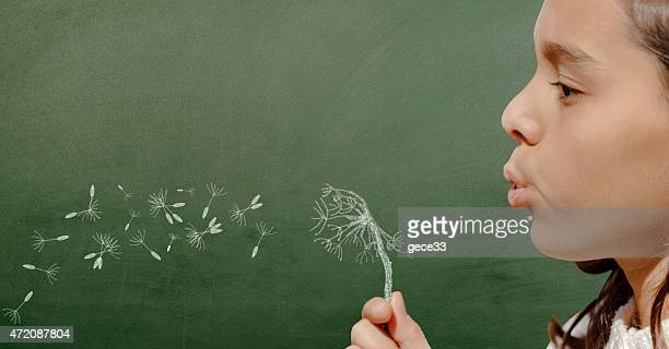 Girl blowing dandelion on chalkboard