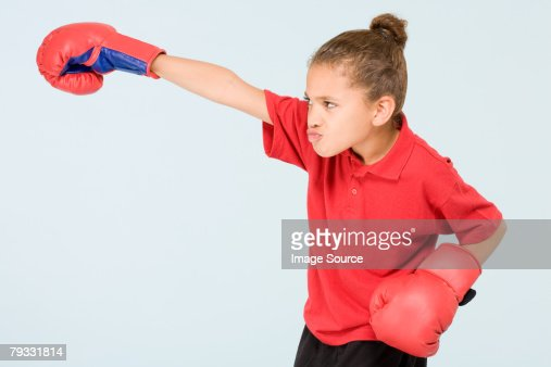 Girl boxing : Stock Photo