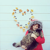 Girl, Cat and Leaf Heart