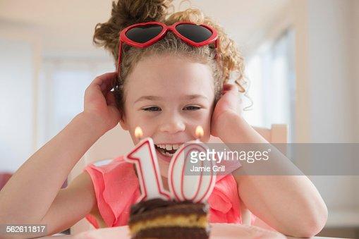 Girl (10-11) celebrating 10th birthday