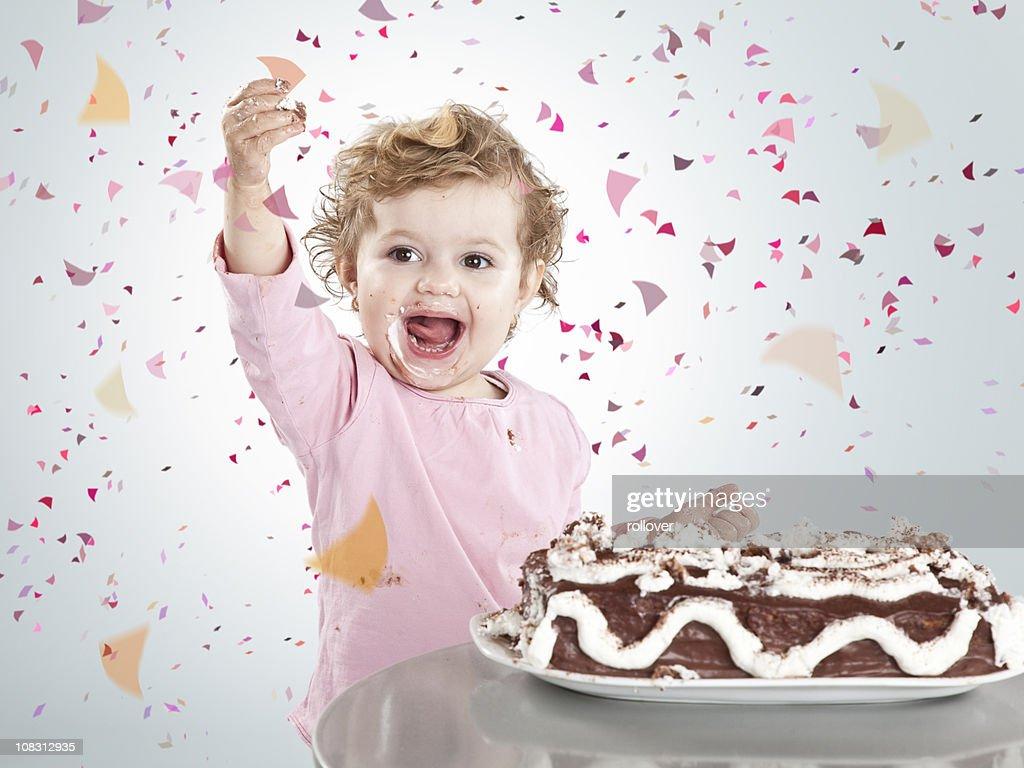 Girl celebrating : Stock Photo