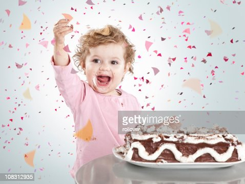 Girl celebrating : Stock Photo
