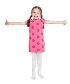 Girl child portrait in red dress