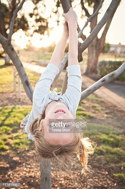 Girl Climbing and Hanging From Tree