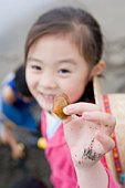 Girl collecting seashells