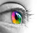 Girl colorful and natural rainbow eye on white background