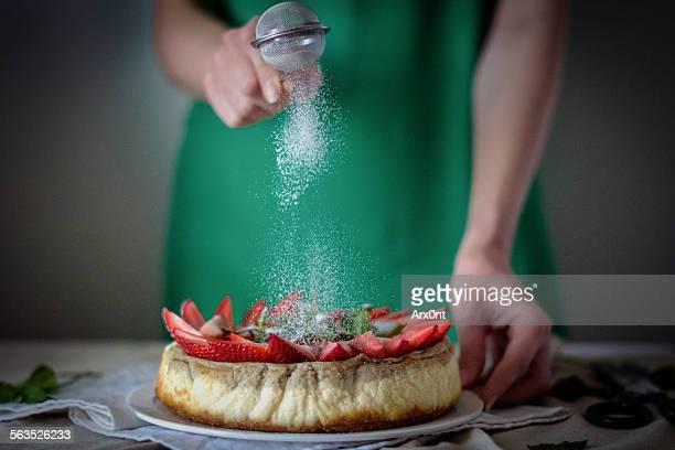 Girl cooking cheesecake