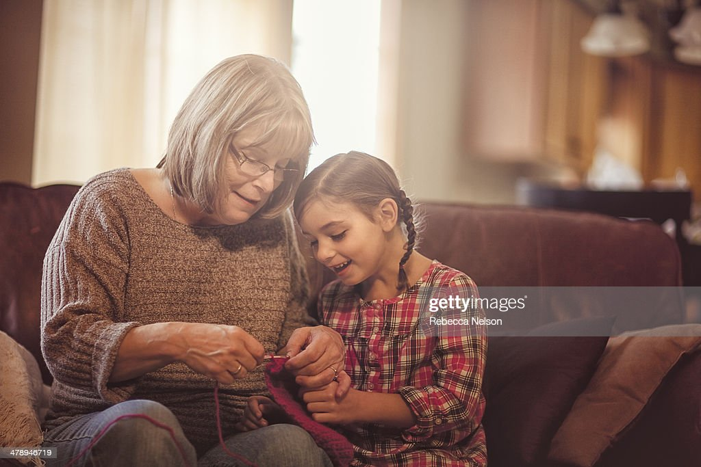 Girl Crocheting with Grandma