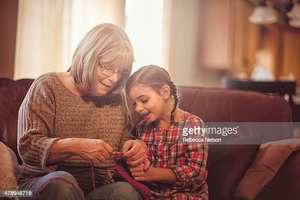Girl Crocheting with Grandma