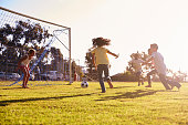 Girl defending goal at football game with family and friends
