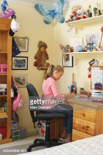 doing homework in bedroom