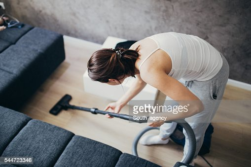 Girl doing house work