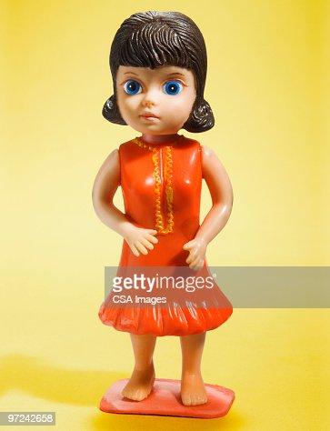 Girl Doll in Orange Dress