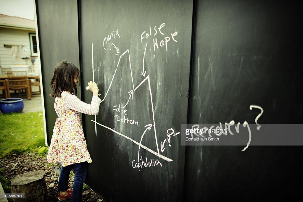 Girl drawing on chalk board : Stock Photo