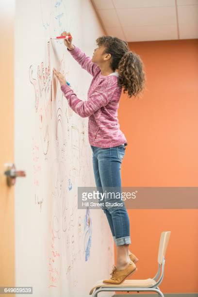 Girl drawing on whiteboard