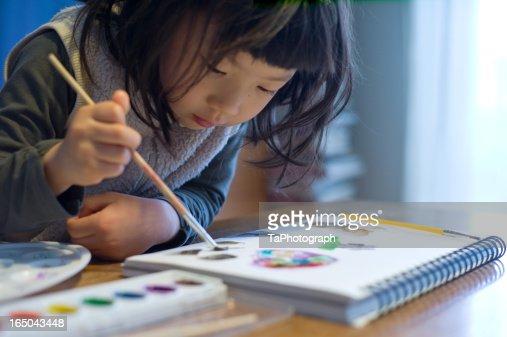 girl drawing : Stock Photo