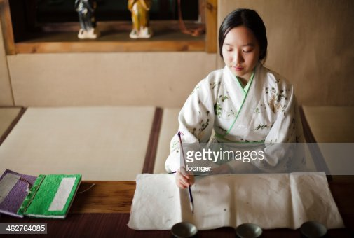 Girl drawing Traditional Chinese Painting : Stock Photo