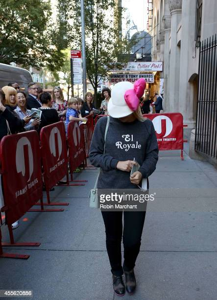 A girl dressed up as Hello Kitty aka Kitty White visits Broadway's 'Kinky Boots' at The Hirshfeld Theatre on September 17 2014 in New York City It...