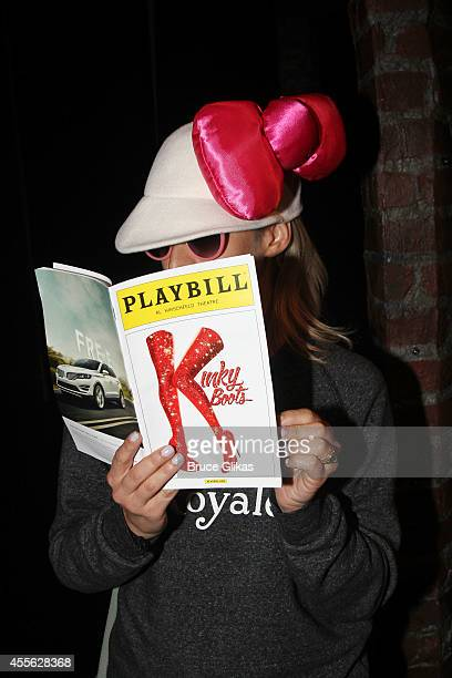 A girl dressed up as Hello Kitty aka Kitty White visits Broadway's 'Kinky Boots' at The Hirshfeld Theatre on September 17 2014 in New York City