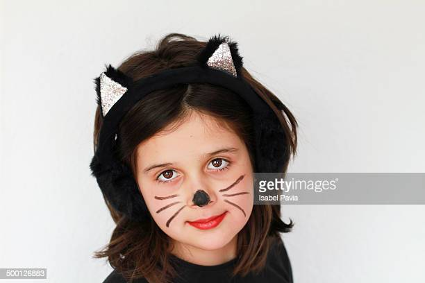 Girl dressed up in a kitty cat costume