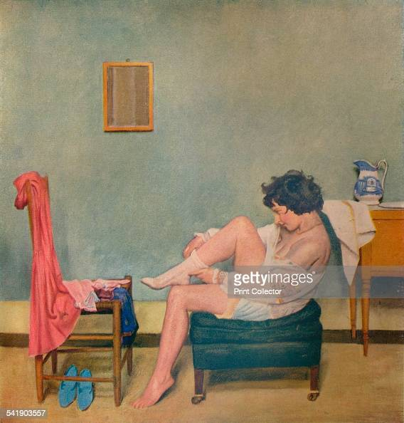 'Girl Dressing' c20th century From The Studio Volume 106 [The Offices of the Studio London 1933]Artist William Rothenstein