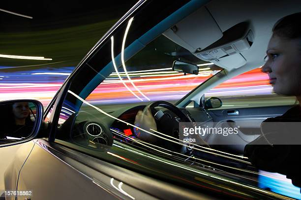 girl  drives the car