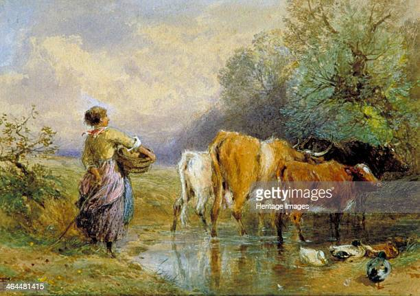 'A Girl driving Cattle across a Stream' 19th century