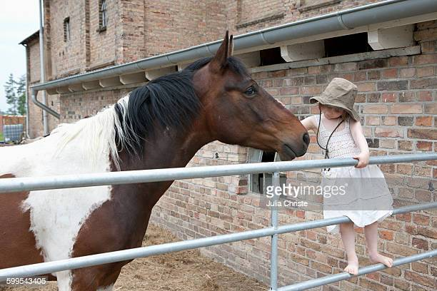 Girl embracing horse at farm