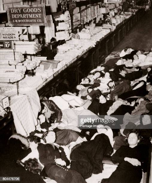 Girl employees of Woolworth's five and dime store West Fourteenth Street New York USA 1937 Sleeping on the floor of the store during their strike in...