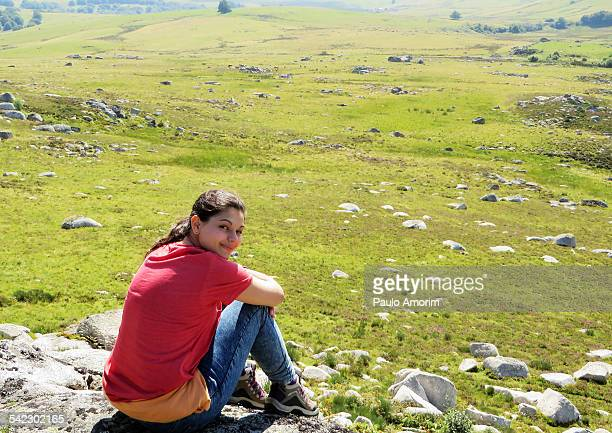 Girl enjoy at Aubrac Palteau in France