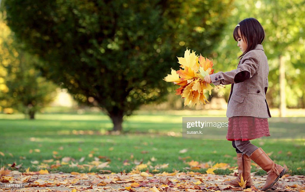 Girl enjoying autumn and big maples bouquet. : Stock Photo