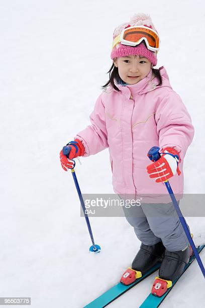 Girl enjoying ski