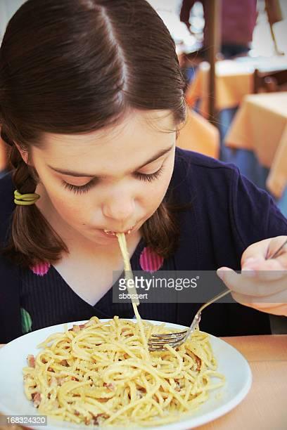 Girl Enjoying Spaghetti Carbonara
