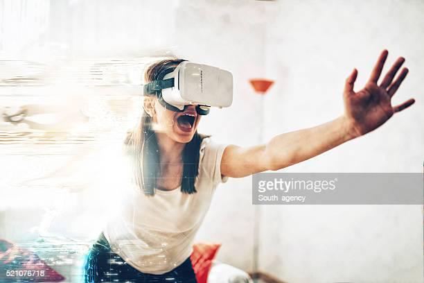 Girl escaping virtual reality