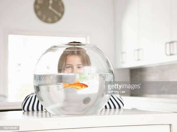 Girl examining goldfish in bowl