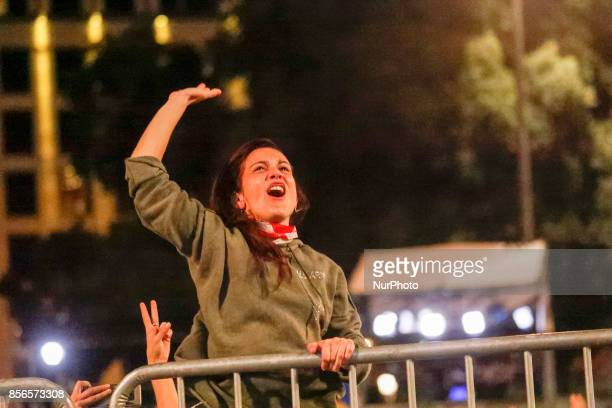 A girl exultate for celebrate the electoral results in Plaza Catalunya on 1st October 2017 in Barcelona Spain