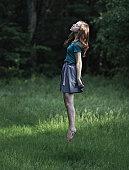 Girl floating in air