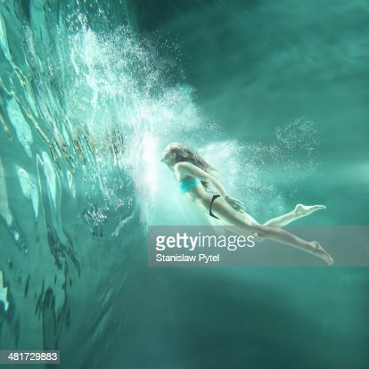 Girl flying underwater