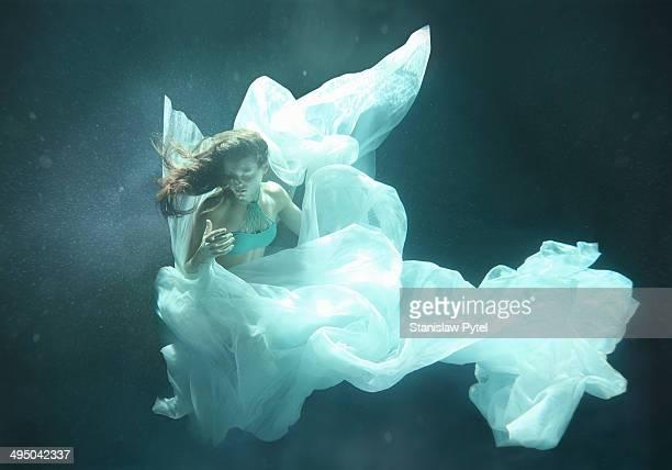 Girl flying underwater
