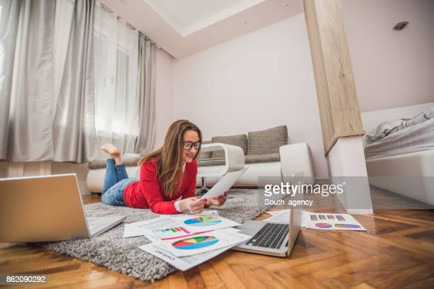 Girl freelancer in living room